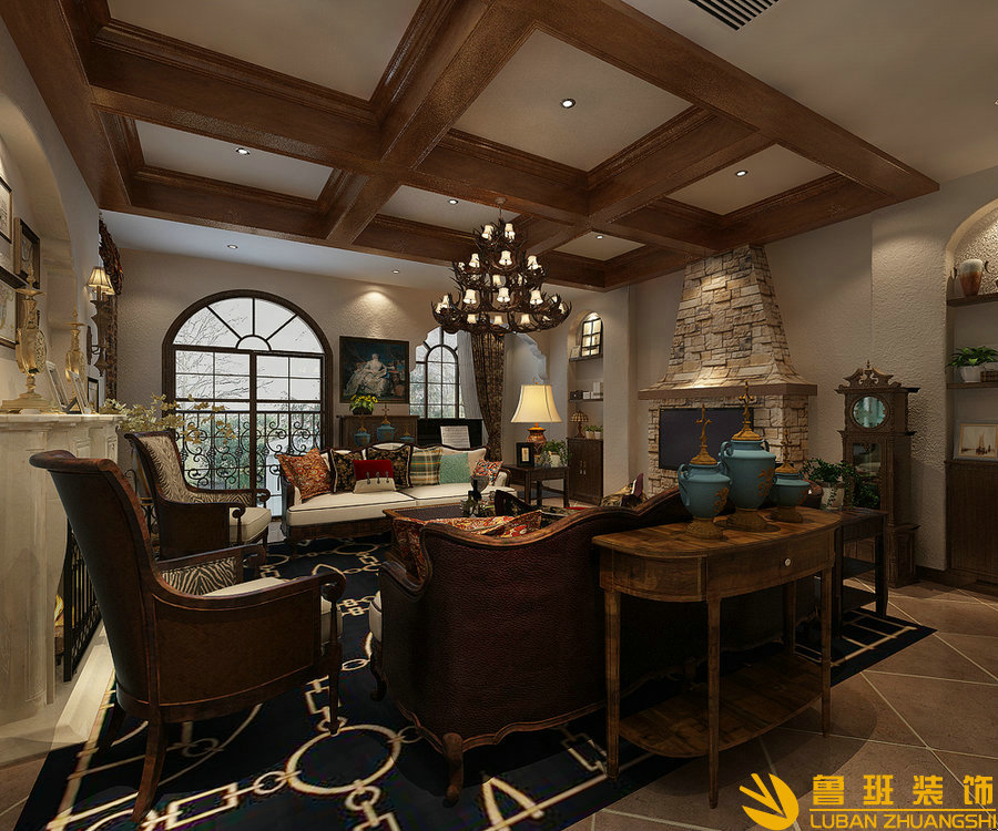 和泓半山380平别墅装修效果图美式乡村设计