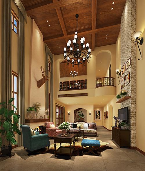 成都大溪谷独栋别墅美式风格设计装修效果图