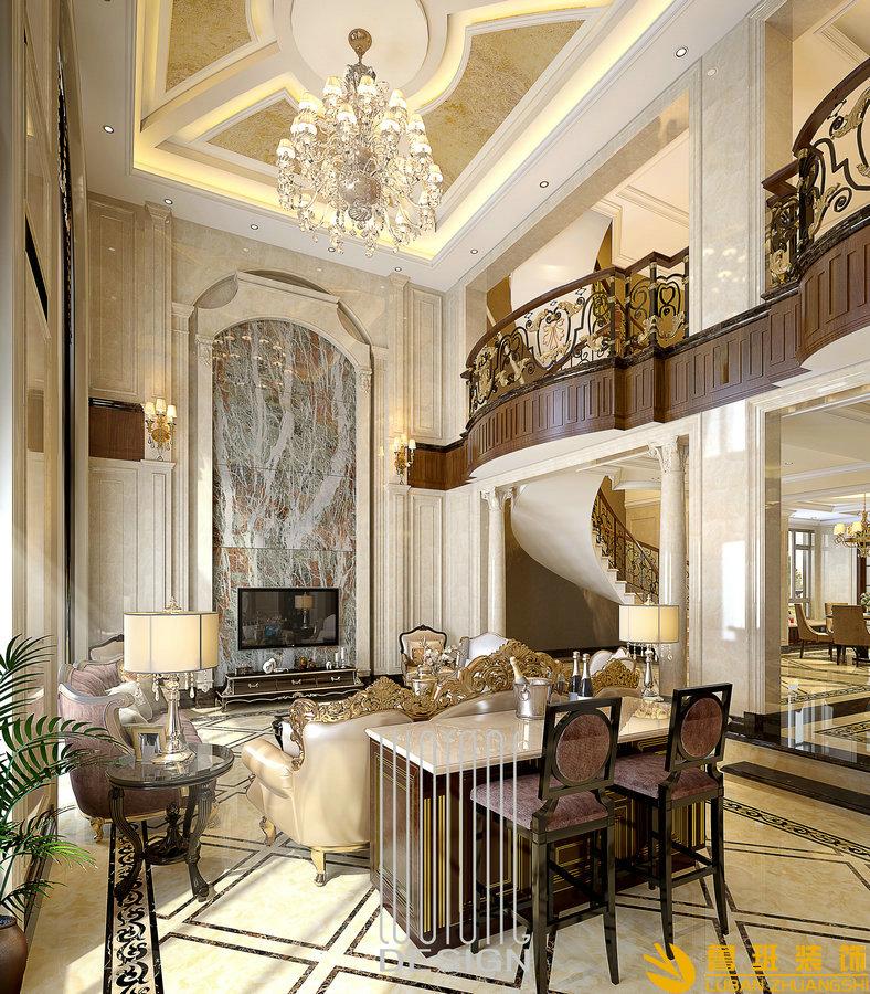 成都复地御香山380平美式别墅设计装修效果图