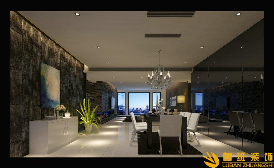 紫檀小区290平现代大平层设计装修效果图