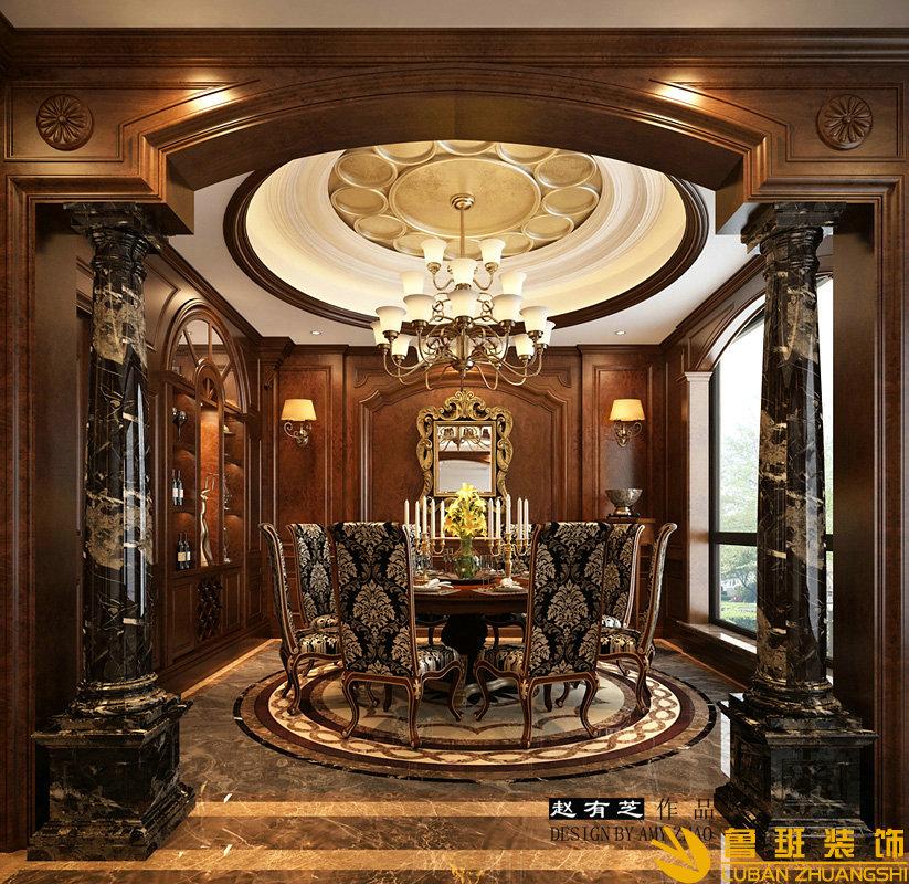 成都绿地锦天府400平古典欧美联排别墅设计装修效果图