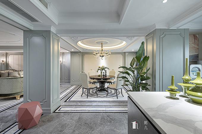 伦敦西区300平大平层装修案例-法式混搭风格